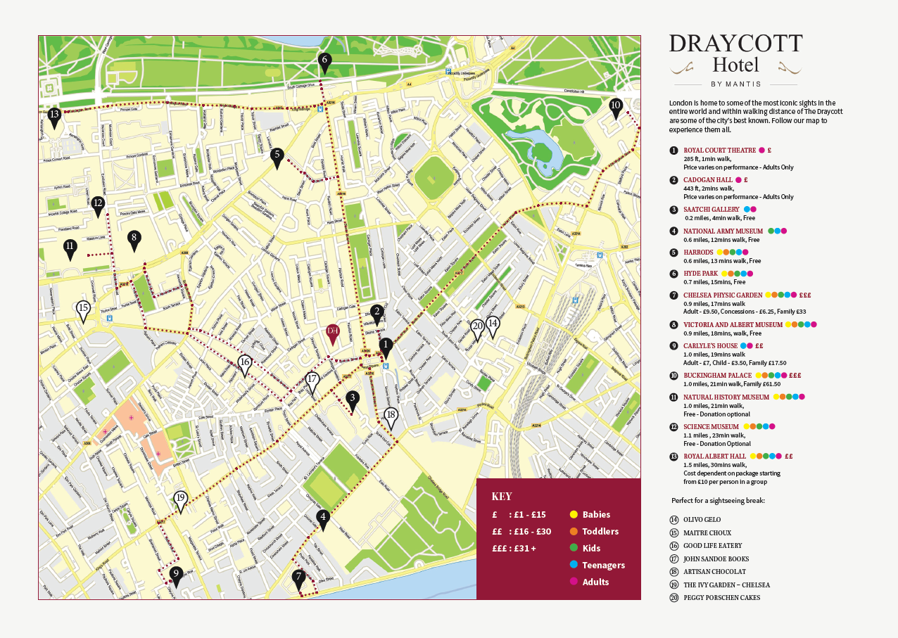 Map Of London Attractions And Hotels.Attractions Map Draycott Hotel